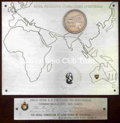 Plaque for 1965-1970 B.P. England to Australia commemorative air race (cg)